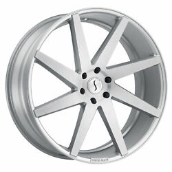 24x9.5 Status Brute Silver W/brushed Machine Face Wheels 5x5.5 15mm Set Of 4