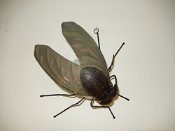 Midcentury Italian Brutalist Wrought Iron Fly Green Wings Sconce Wall Light