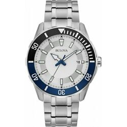 Bulova Menand039s 44mm Sport Stainless Steel Watch Silver White Dial