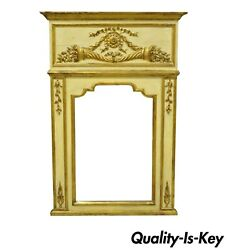 Antique Italian Neoclassical Gold Giltwood Large 58x40 Trumeau Wall Mirror