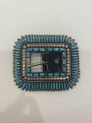 Vintage Needlepoint Turquoise And Silver Womens Belt Buckle