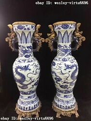 Chinese Old Blue And White Porcelain Inlay Copper Girl Phoenix Dragon Vase Pair