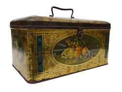 Antique Tin Biscuit Box Large Litho Container Holland Cookie Metal Hinged Box