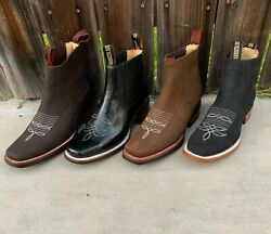 Mexican Botines Mens Botin Cowboy Leather Rodeo Slip On Ankle Square Toe Boots