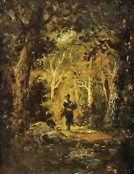 Stunning Oil Painting Narcisse Diaz - Wood Gatherer In A Forest Landscape Canvas