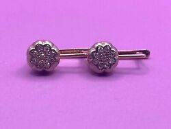 Russian Vintage Rose And White Gold Earring With Diamonds 0.45 Ct 583 14k