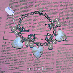 Unique Handmade Adjustable Chain Bracelet Murano Glass Hearts Silver Dolphins