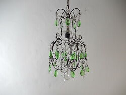 1920's Italian Green Prisms Macaroni Swags Crystal Chandelier
