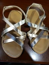 Gymboree Girls Kids Strap Sandal Size 10 Gold Shiny Look Brand New $4.00