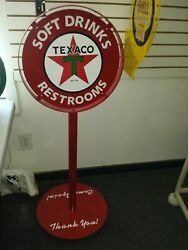 1930s 40s 50s Texaco Star Gas Station Curb Sign Lollipop As Is Previous Display