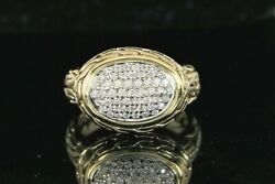 4,550 John Hardy 18k Yellow Gold Pave Diamond Classic Chain Oval Cocktail Ring