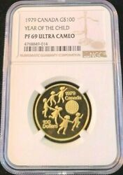 1979 Canada Gold 100 Year Of The Child Ngc Pf 69 Ultra Cameo High Grade Beauty