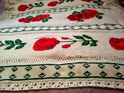 Wow Vintage Bright Red Rose Design Hand Crochet Afghan Throw Blanket 77x72