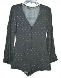 Ps Erin Wasson Womens V Neck Black Button Front Long Sleeve Romper Size Small