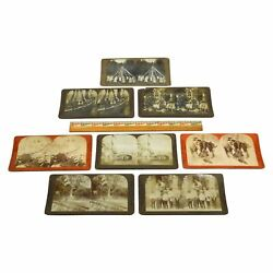 Antique Stereoscope Card Lot Of 8 Mixed Stereoviews Moose Hunt Gold Rush Maypole