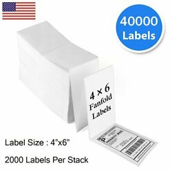 40000 Fanfold 4x6 Direct Thermal Shipping Labels For Zebra And Rollo Printer Usa