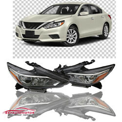 Fits 2016 2017 2018 Nissan Altima Headlights Headlamps Chrome Factory Style Pair