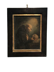 Antique Grand Master Oil Painting - Memento Mori Religious Art - Saint And Skull