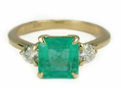 2.52tcw Colombian Emerald And Round Cut Diamond Three Stone Engagement Ring 14k