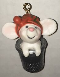 Vintage 1978 Hallmark Mouse in Thimble Little Tree Trimmer Christmas Ornament