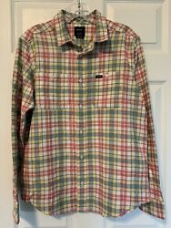 Nwt Rvca Men's Soft Cotton Flannel Plaid Long Sleeve Flannel Small Button Down