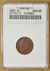 1897 Indian Head Penny Fs-011.5 '1 In Neck' Anacs Genuine