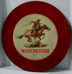 Vintage Winchester Round Metal Sign 12 X 12 Gas Oil Excellent Condition Rare