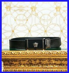Versace Black Perforated Leather Belt With Black Reversible Medusa Buckle 90/36