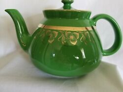Hall 032 10 Cup Made In The Usa Teapot Green With Gold Floral Trim