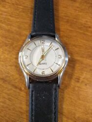 Vintage Time Waits For No Woman Ladies Watch Running W/new Battery/ Leather N