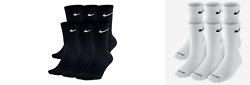 Nike Dri-Fit Cotton Crew Socks 1 3 OR 6 PAIRS WHITE OR BLACK $8.99