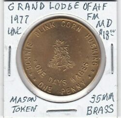 Masonic Penny - Grand Lodge Of Af And Am Of Maryland - 1977 Unc - 35 Mm Brass