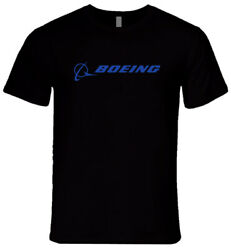 New Boeing Aircraft Logo Airplane Airline Menand039s Black T-shirt Size S To 2xl