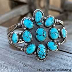 Native American Navajo Silver And Lone Mountain Turquoise Cuff Bracelet