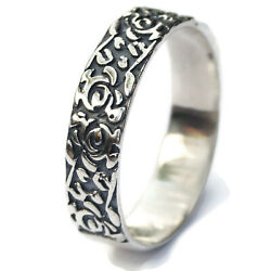 Floral Pattern Rosemaling Band Ring Norway Jewelry 925 Sterling Silver Handmade