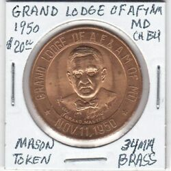 Masonic Token - Grand Lodge Of Af And Am Of Maryland - 1950 Ch Bu - 34 Mm Brass