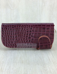 Red Moon Rrc Line Croco Stamped Long Wallet Leather Bordeaux