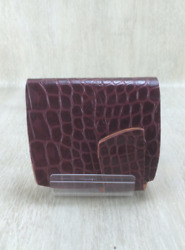 Red Moon Rrc Line Croco-embossed Leather Bordeaux Folded Short Wallet Box