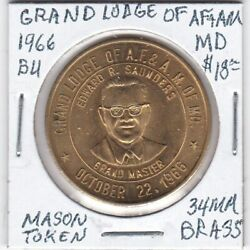 Masonic Penny - Grand Lodge Of Af And Am Of Maryland - 1966 Bu - 34 Mm Brass