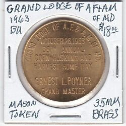 Masonic Penny - Grand Lodge Of Af And Am Of Maryland - 1963 Bu - 35 Mm Brass