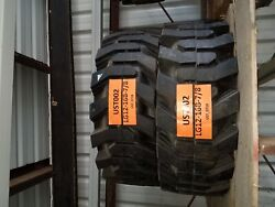 2 Used Summit Solid Skid Steer Tires - 12x16.5 7/8 - With Rims | Free Shipping