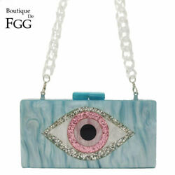 Evil Eyes Glitter Women Evening Bags Acrylic Box Clutch Party Handbags Purses $24.99