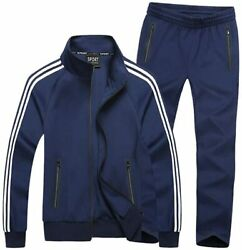 Menand039s Athletic Tracksuit Set Full Zip Casual Sports Jogging Gym Sweat Suits