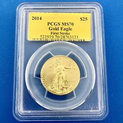2014 25 Gold 1/2 Oz Pcgs Ms70 First Strike Gold American Eagle Rare Label