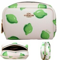 Coach Cosmetic Case Bag Mini Boxy Jewelry Pouch Lime Print 2492 $52.95