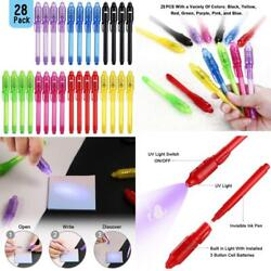 Scstyle Invisible Ink Pen 28pcs Latest Spy Pen With Uv Black Light Magic Marker