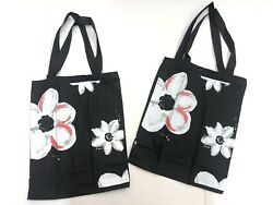 New 2x Midnight Flowers Small Tote Bags Canvas Black Color $8.95