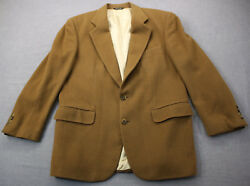 Cox And Hawkens Made In Usa Mens Brown Soft 100 Cashmere Sportcoat Blazer 42 R