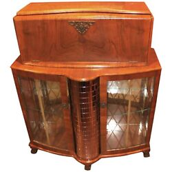 Fruitwood Art Deco Style Or Mid Century Bar With Mirrored Decoration