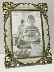 4x6 Antique Vintage Style Brass Crystals Enamel Jeweled Picture Frame